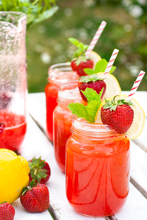 sommardrink jordgubbar mynta citron