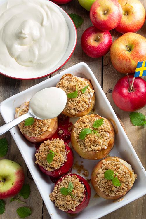 Fyllda bakade applen
