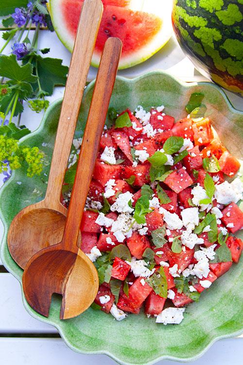 sallad på vattenmelon och fetaost